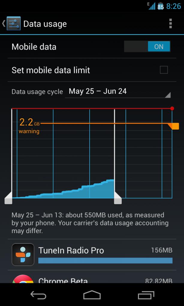 צריכת נתונים באנדרואיד 4.0